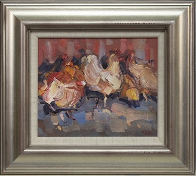 Lot 534 - HENS IN THE YARD, AN OIL BY JAMES FULLARTON
