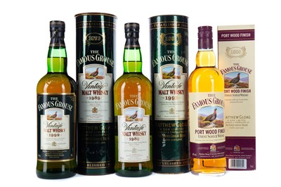 Lot 40 - FAMOUS GROUSE 1992 AND 1989 VINTAGE, AND FAMOUS GROUSE PORT WOOD