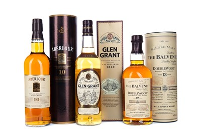 Lot 45 - ABERLOUR 10 YEARS OLD, GLEN GRANT AGED 10 YEARS AND BALVENIE DOUBLEWOOD AGED 12 YEARS