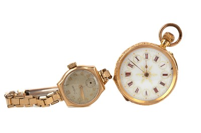 Lot 725 - A LADY'S EIGHTEEN CARAT GOLD CASED FOB WATCH AND A GOLD CASED ZODIAC WRIST WATCH