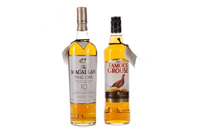 Lot 54 - MACALLAN FINE OAK 10 YEARS OLD AND FAMOUS GROUSE