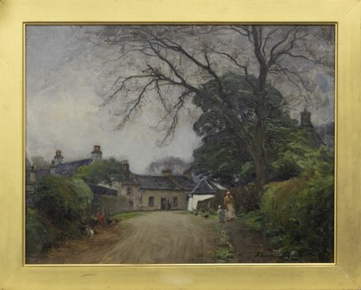 Lot 62 - A STROLL WITH THE HENS, AN OIL BY ALEXANDER BROWNLIE DOCHARTY