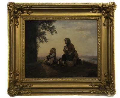 Lot 65 - MOTHER AND CHILDREN AT PRAYER, AN OIL ATTRIBUTED TO JOHANN GEORG MEYER VON BREMEN