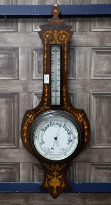 Lot 1114 - A LATE 19TH CENTURY INLAID ROSEWOOD BANJO BAROMETER