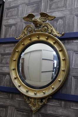 Lot 1713 - A 19TH CENTURY GILT GESSO FRAMED CONVEX WALL MIRROR