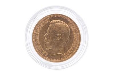 Lot 16 - A RUSSIA NICOLI II GOLD 7 RUBLES 50 KOPECKS COIN DATED1897