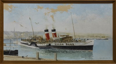 Lot 540 - LNER PADDLE STEAMER 'WAVERLEY' ARRIVING AT ROTHESAY IN SUMMER 1947, AN OIL BY IAN G ORCHARDSON