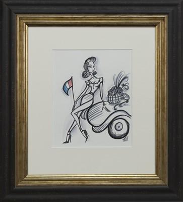 Lot 542 - LA PARISIENNE, A PEN AND WASH BY LAETITIA GUILBAUD