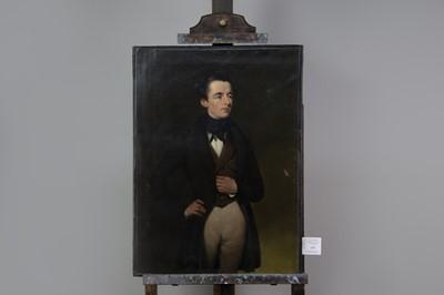 Lot 1061 - AN ENGLISH SCHOOL PORTRAIT OF A GENTLEMAN