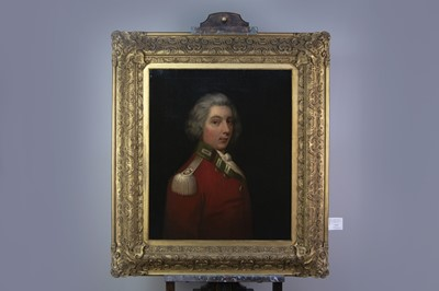 Lot 1066 - AN ENGLISH SCHOOL PAINTING OF AN OFFICER