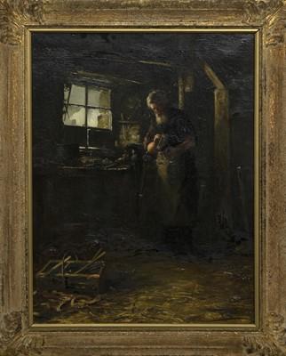 Lot 66 - A VILLAGE SMITH, AN OIL BY TOM MCEWAN