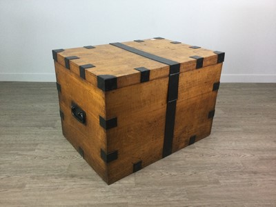 Lot 1718 - A VICTORIAN OAK AND METAL BOUND BLANKET CHEST