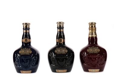 Lot 71 - CHIVAS REGAL ROYAL SALUTE AGED 21 YEARS RUBY, SAPPHIRE AND EMERALD FLAGONS