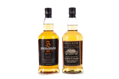 Lot 90 - TWO SPRINGBANK 10 YEARS OLD PERSONALISED LABELS