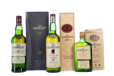Lot 99 - TWO AND A HALF BOTTLES OF GLENLIVET AGED 12 YEARS
