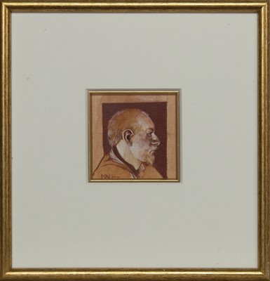Lot 567 - STUDY FOR SELF PORTRAIT PAINTER FROM PAISLEY, AN OIL BY ALAN KING