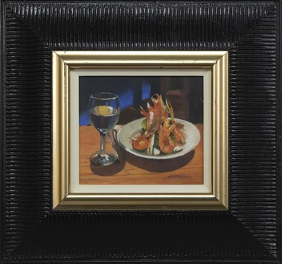 Lot 565 - CHABLIS AND LANGOUSTINE AT ROGANO, AN OIL BY ALASTAIR THOMSON