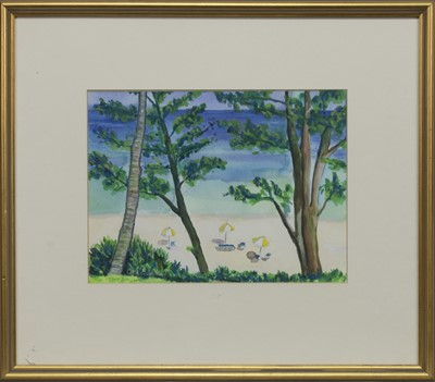 Lot 564 - CORAL BEACH, BERMUDA, A WATERCOLOUR BY GAY GROSSART
