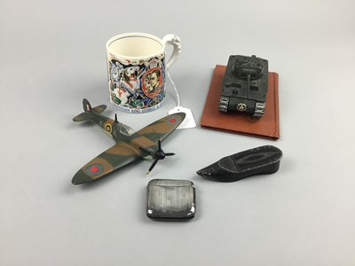 Lot 64 - A SILVER VESTA CASE, ALONG WITH DIE CAST MODELS AND A SNUFF BOX