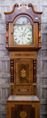 Lot 1125 - A VICTORIAN OAK AND PARQUETRY LONGCASE CLOCK