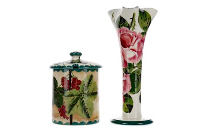 Lot 1089 - A WEMYSS WARE PRESERVE POT AND COVER, ALONG WITH A SOLIFLEUR VASE