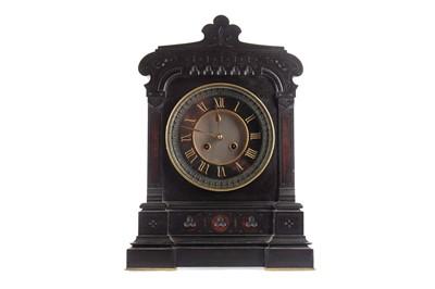 Lot 1115 - A VICTORIAN BLACK SLATE MANTEL CLOCK