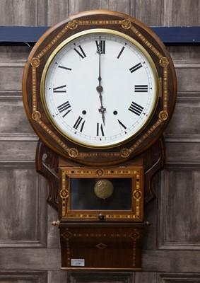 Lot 1130 - A VICTORIAN DROP DIAL WALL CLOCK