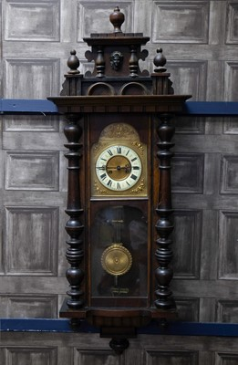 Lot 1132 - A LATE VICTORIAN VIENNA WALL CLOCK