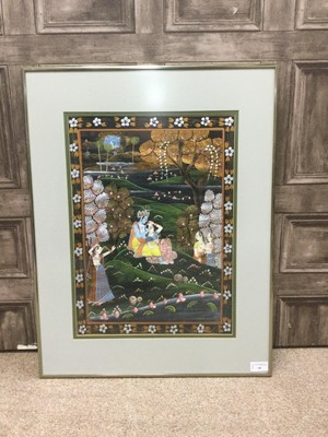 Lot 68 - A 20TH CENTURY INDIAN PAINTING ON FABRIC