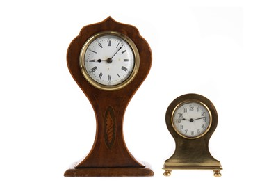 Lot 1142 - AN EDWARDIAN MAHOGANY MANTEL CLOCK AND ANOTHER