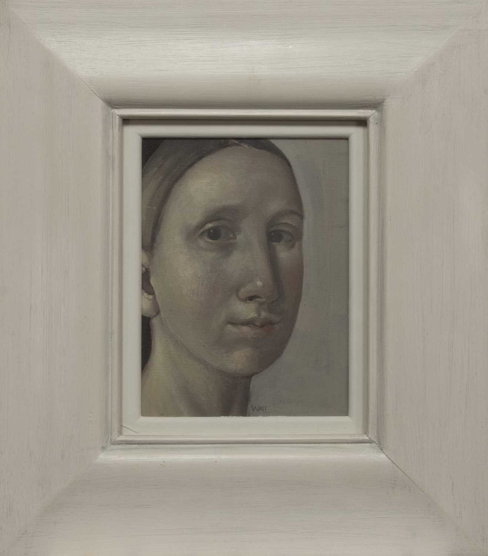 Lot 2048 - YOUNG WOMAN, AN OIL BY ALISON WATT