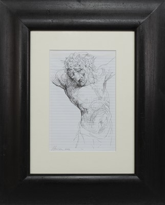 Lot 579 - STUDY OF CHRIST, AN INK BY PETER HOWSON