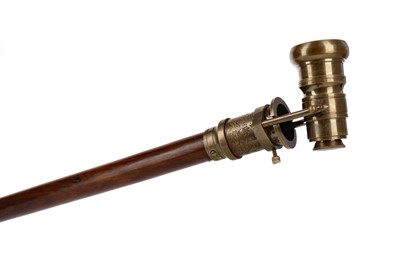 Lot 1731 - A REPRODUCTION BRASS AND HARDWOOD WALKING CANE