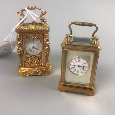 Lot 18 - A LOT OF TWO REPRODUCTION BRASS CARRIAGE CLOCKS
