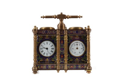Lot 1734 - A BRASS AND CHAMPLEVE ENAMEL DESK CLOCK/BAROMETER COMPENDIUM