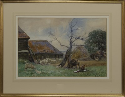 Lot 59 - IN THE FARMYARD, A WATERCOLOUR BY SIR DAVID MURRAY