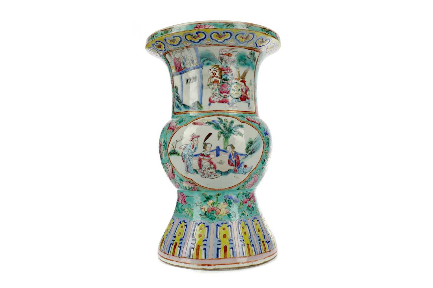 Lot 685 - A 19TH CENTURY CHINESE FAMILLE ROSE HU SHAPED VASE