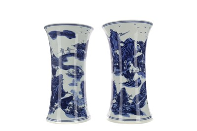 Lot 683 - A PAIR OF 20TH CENTURY CHINESE BLUE AND WHITE VASES