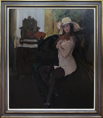 Lot 583 - AT THE DRESSING TABLE, A LARGE OIL BY NORMAN KIRKHAM