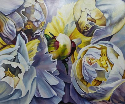 Lot 585 - BUDDING BLOOMS, AN OIL BY GREER RALSTON