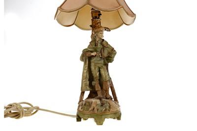 Lot 1093 - A W. & R. AUSTRIAN PORCELAIN FIGURAL TABLE LAMP