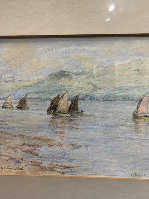 Lot 82 - DRIFTING OUT, CAMPBELTOWN LOCH, A PASTEL BY SIR JAMES LEWIS CAW