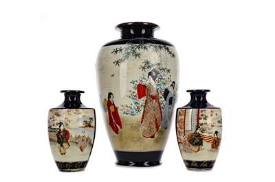 Lot 655 - AN EARLY 20TH CENTURY JAPANESE SATSUMA VASE AND A PAIR OF SATSUMA VASES