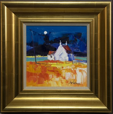 Lot 591 - MOON OVER CNOC-CUIL PHAIL, IONA, AN OIL BY JOLOMO