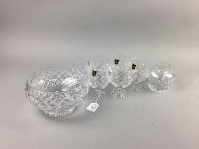 Lot 90 - A SET OF EDINBURGH CRYSTAL BRANDY GLASSES AND OTHER CRYSTAL