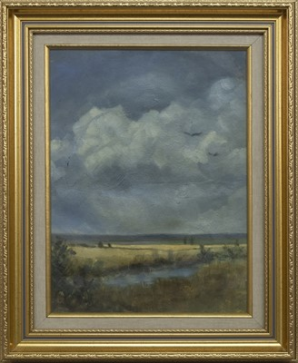 Lot 595 - FIFE LANDSCAPE, AN EARLY OIL BY JACK VETTRIANO