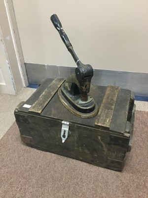 Lot 247 - A VICTORIAN STAMP PRESS, ALONG WITH A TOOL BOX