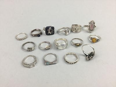 Lot 12 - A COLLECTION OF SILVER AND STONE SET RINGS