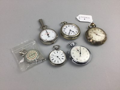Lot 8 - A SILVER FOB WATCH AND OTHERS