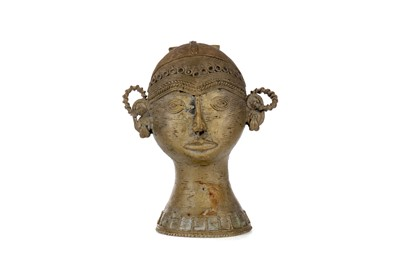 Lot 645 - AN AFRICAN GILDED METAL FEMALE HEAD